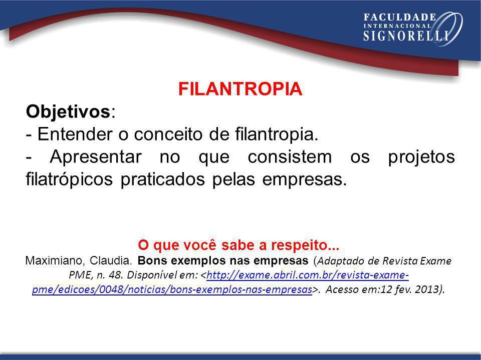 FILANTROPIA Objetivos: - Entender o conceito de filantropia. - Apresentar no que consistem os projetos filatrópicos praticados pelas empresas. O que v