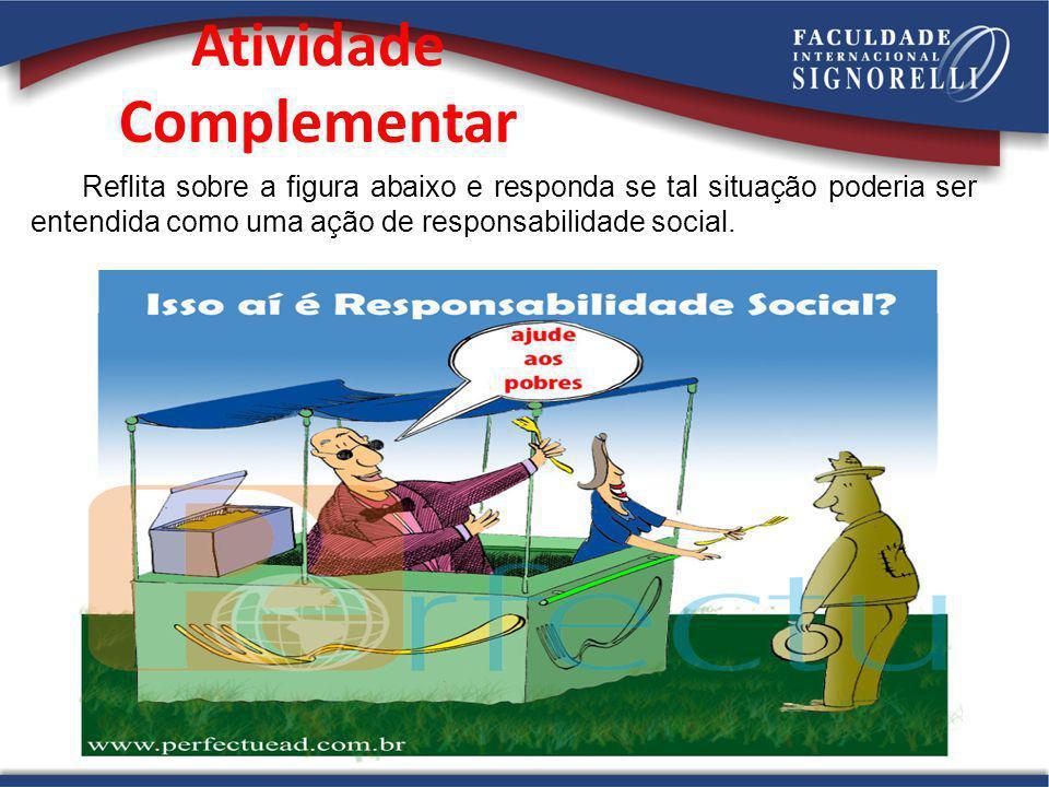 Atividade Complementar Reflita sobre a figura abaixo e responda se tal situação poderia ser entendida como uma ação de responsabilidade social.