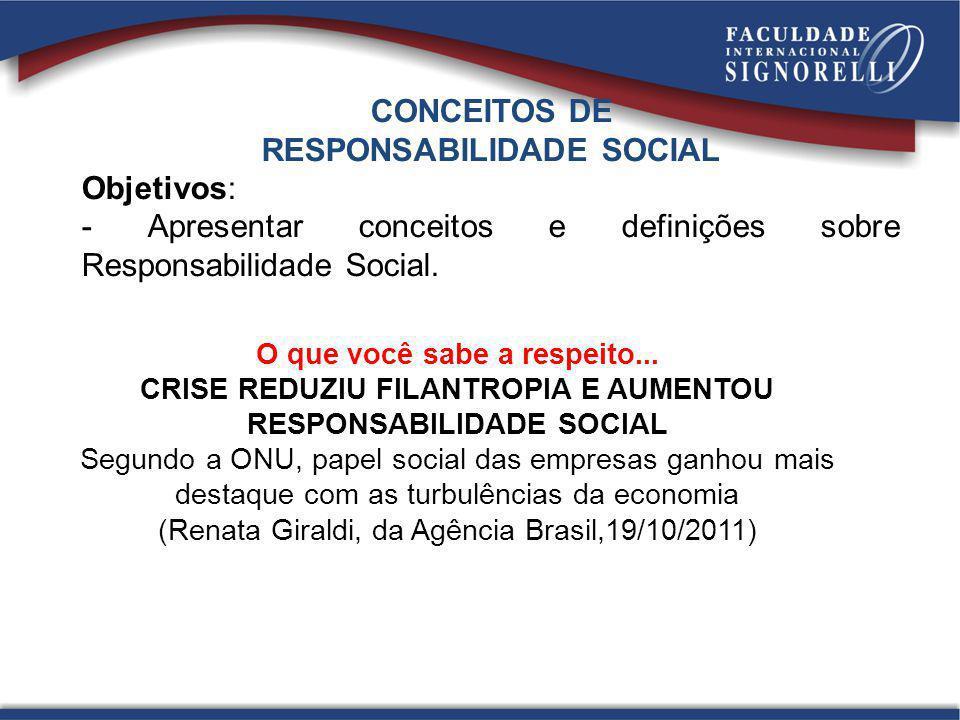 CONCEITOS DE RESPONSABILIDADE SOCIAL Objetivos: - Apresentar conceitos e definições sobre Responsabilidade Social. O que você sabe a respeito... CRISE