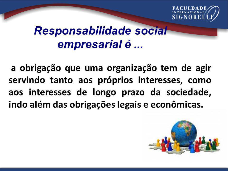 26 a obrigação que uma organização tem de agir servindo tanto aos próprios interesses, como aos interesses de longo prazo da sociedade, indo além das
