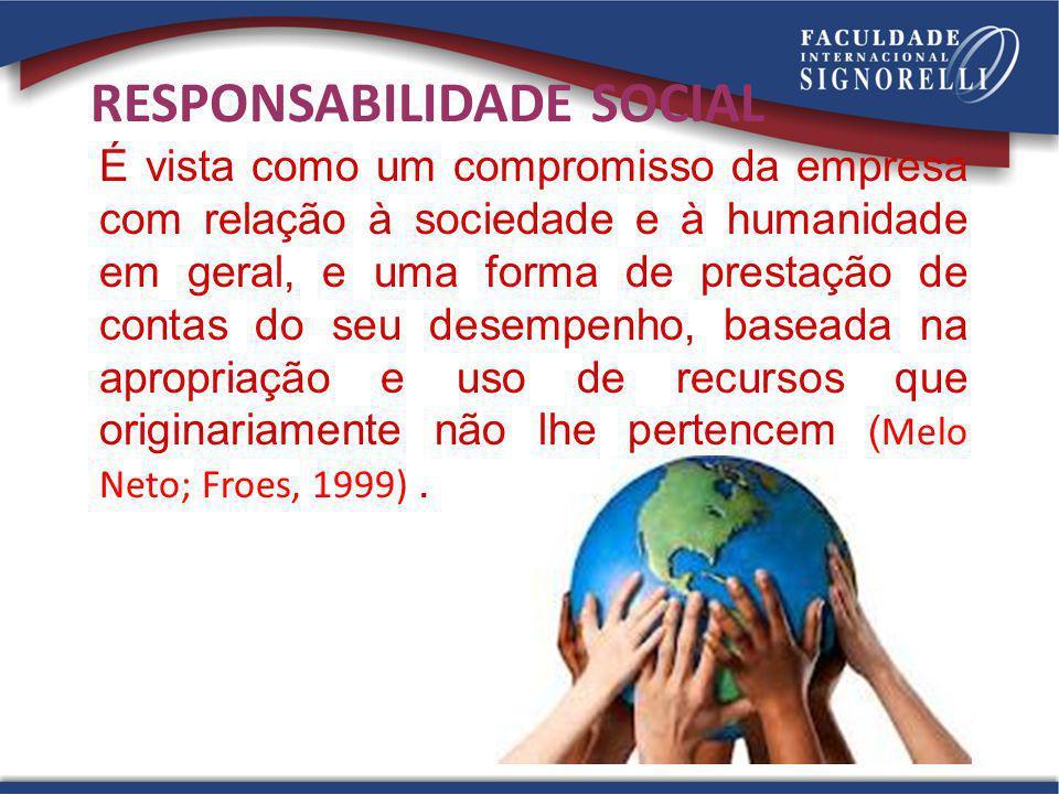 27 RESPONSABILIDADE SOCIAL É vista como um compromisso da empresa com relação à sociedade e à humanidade em geral, e uma forma de prestação de contas