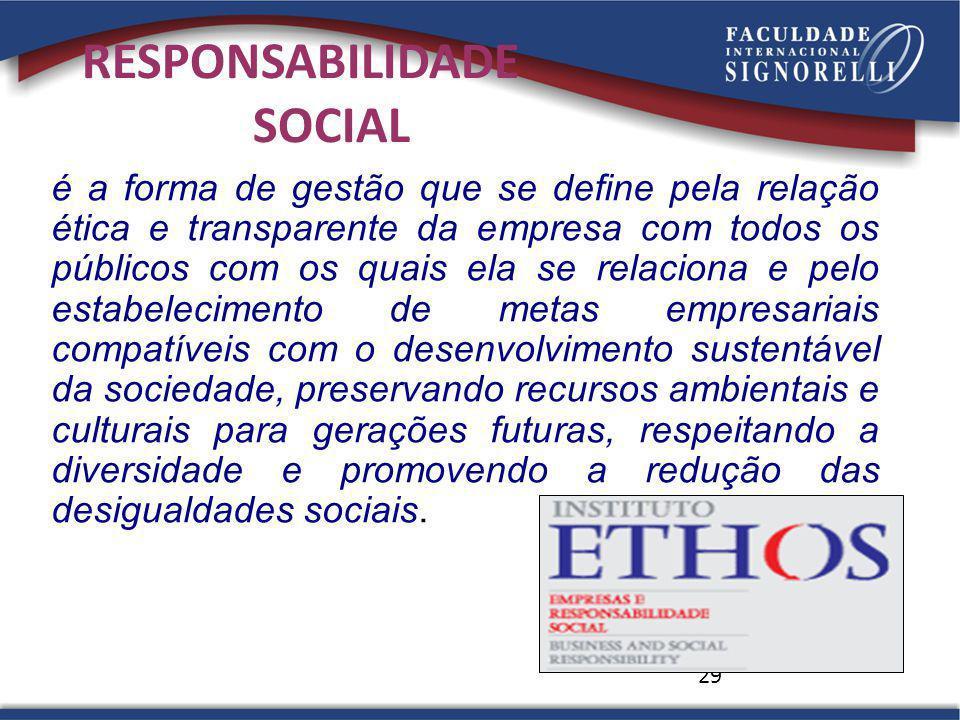29 é a forma de gestão que se define pela relação ética e transparente da empresa com todos os públicos com os quais ela se relaciona e pelo estabelec