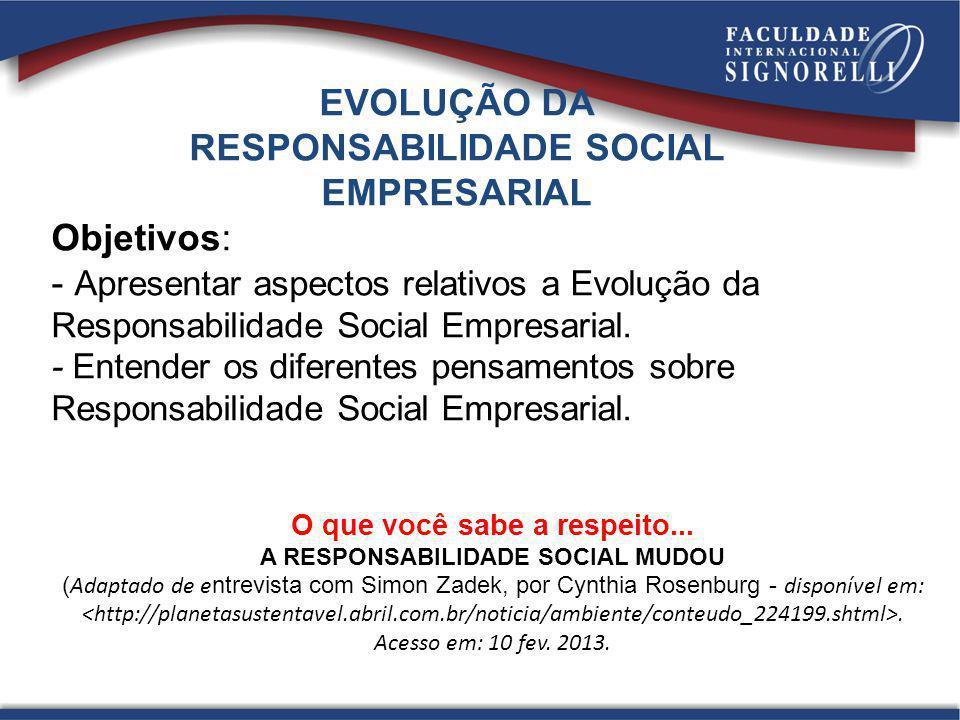 EVOLUÇÃO DA RESPONSABILIDADE SOCIAL EMPRESARIAL Objetivos: - Apresentar aspectos relativos a Evolução da Responsabilidade Social Empresarial. - Entend