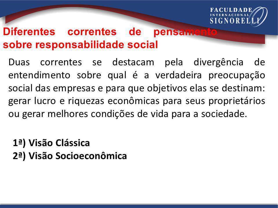 Diferentes correntes de pensamento sobre responsabilidade social Duas correntes se destacam pela divergência de entendimento sobre qual é a verdadeira