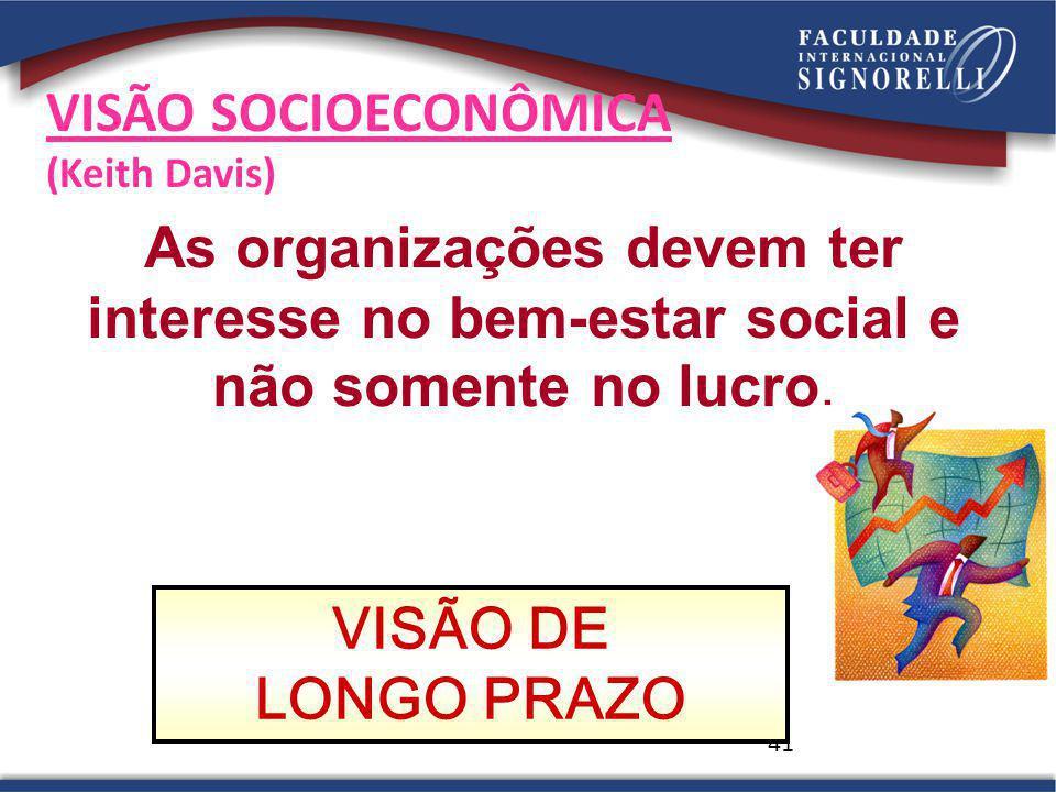 41 VISÃO SOCIOECONÔMICA (Keith Davis) VISÃO DE LONGO PRAZO As organizações devem ter interesse no bem-estar social e não somente no lucro.