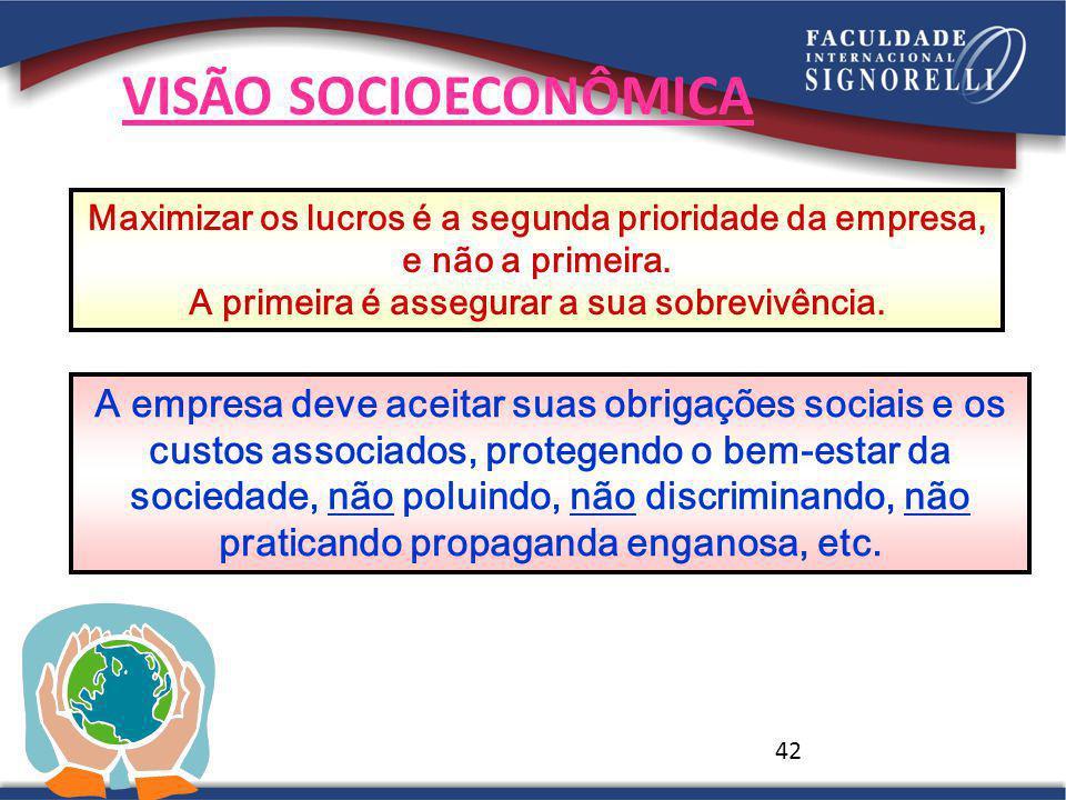 42 VISÃO SOCIOECONÔMICA A empresa deve aceitar suas obrigações sociais e os custos associados, protegendo o bem-estar da sociedade, não poluindo, não