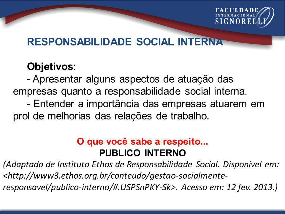 RESPONSABILIDADE SOCIAL INTERNA Objetivos: - Apresentar alguns aspectos de atuação das empresas quanto a responsabilidade social interna. - Entender a