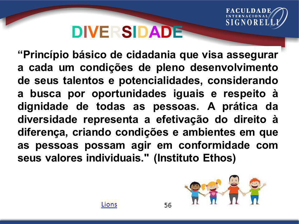 56 DIVERSIDADEDIVERSIDADE Princípio básico de cidadania que visa assegurar a cada um condições de pleno desenvolvimento de seus talentos e potencialid