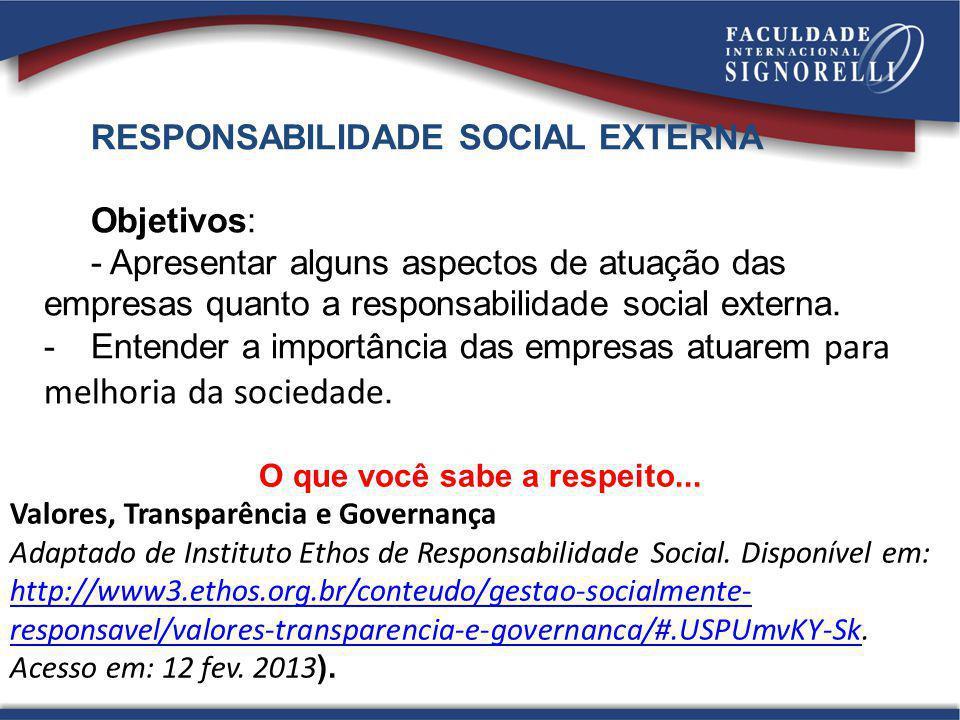 RESPONSABILIDADE SOCIAL EXTERNA Objetivos: - Apresentar alguns aspectos de atuação das empresas quanto a responsabilidade social externa. -Entender a