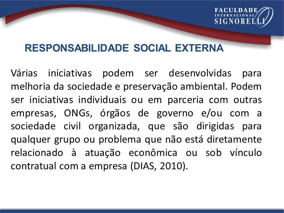 RESPONSABILIDADE SOCIAL EXTERNA Várias iniciativas podem ser desenvolvidas para melhoria da sociedade e preservação ambiental. Podem ser iniciativas i