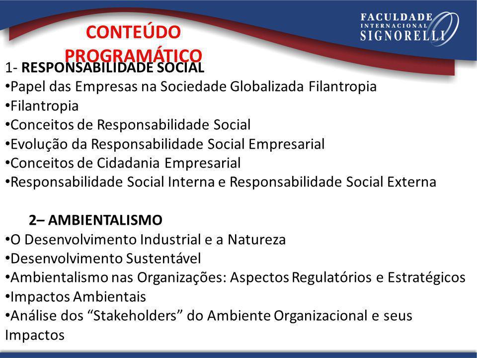 1- RESPONSABILIDADE SOCIAL Papel das Empresas na Sociedade Globalizada Filantropia Filantropia Conceitos de Responsabilidade Social Evolução da Respon