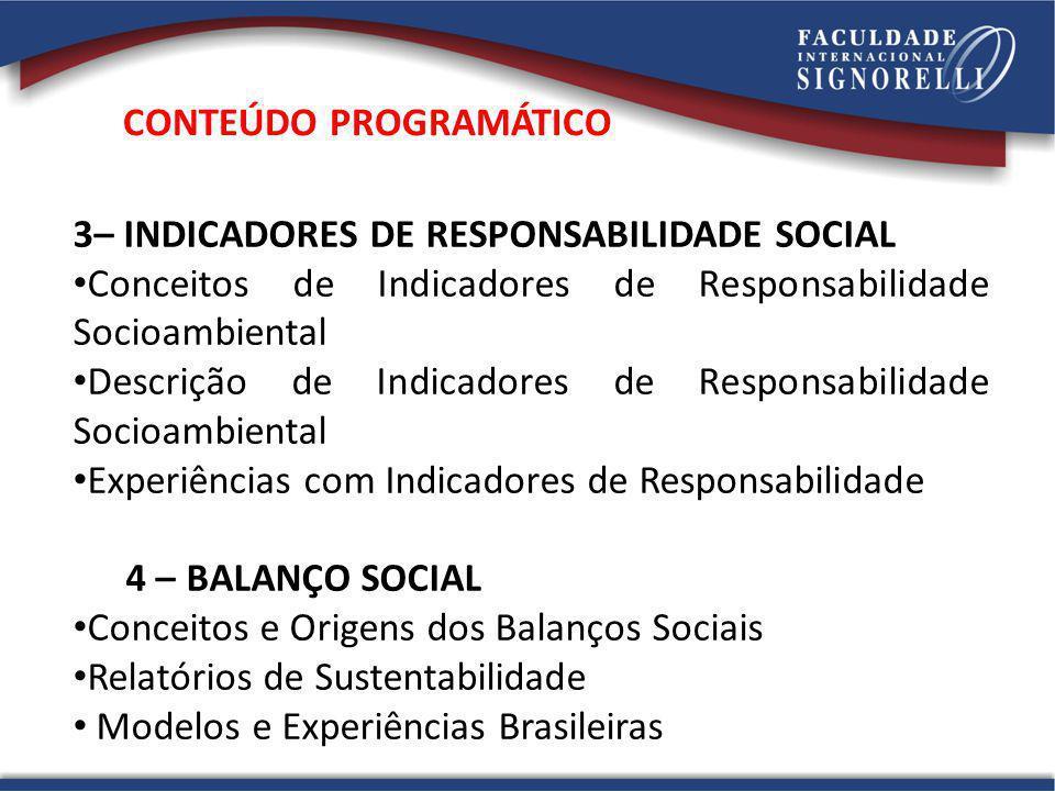 3– INDICADORES DE RESPONSABILIDADE SOCIAL Conceitos de Indicadores de Responsabilidade Socioambiental Descrição de Indicadores de Responsabilidade Soc