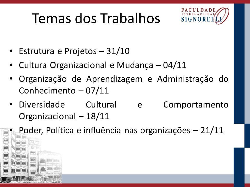 Temas dos Trabalhos Estrutura e Projetos – 31/10 Cultura Organizacional e Mudança – 04/11 Organização de Aprendizagem e Administração do Conhecimento – 07/11 Diversidade Cultural e Comportamento Organizacional – 18/11 Poder, Política e influência nas organizações – 21/11
