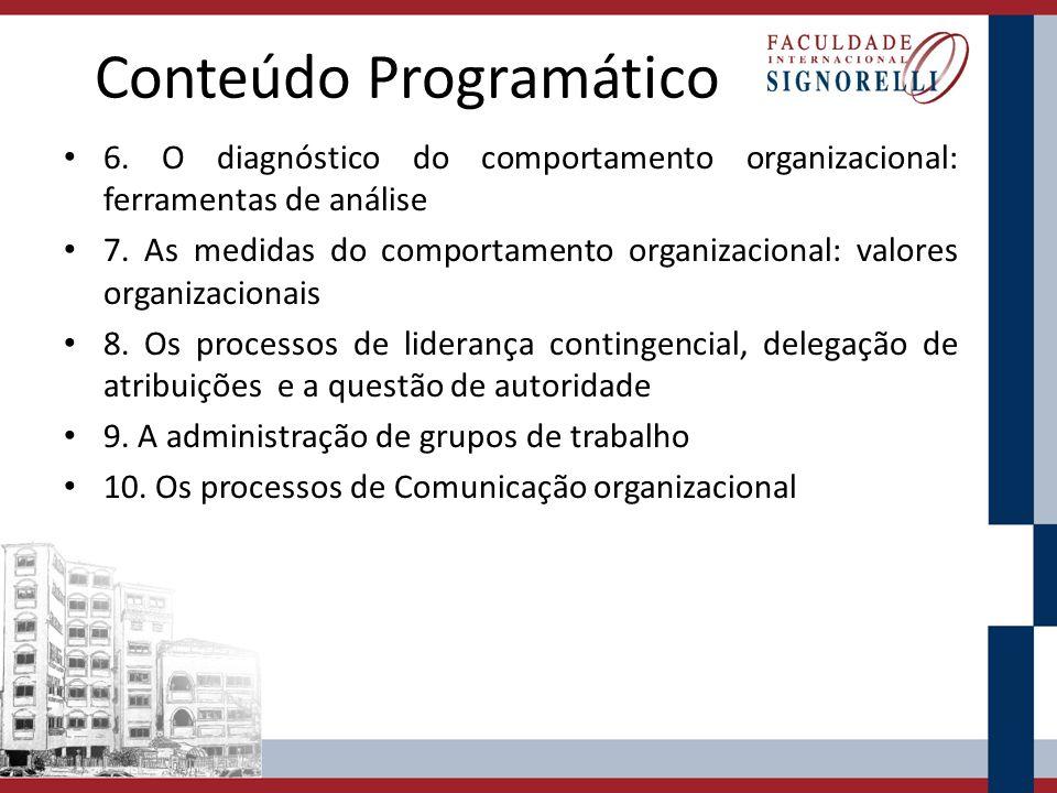 Conteúdo Programático 6. O diagnóstico do comportamento organizacional: ferramentas de análise 7. As medidas do comportamento organizacional: valores