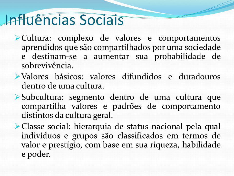 Influências Sociais Cultura: complexo de valores e comportamentos aprendidos que são compartilhados por uma sociedade e destinam-se a aumentar sua probabilidade de sobrevivência.