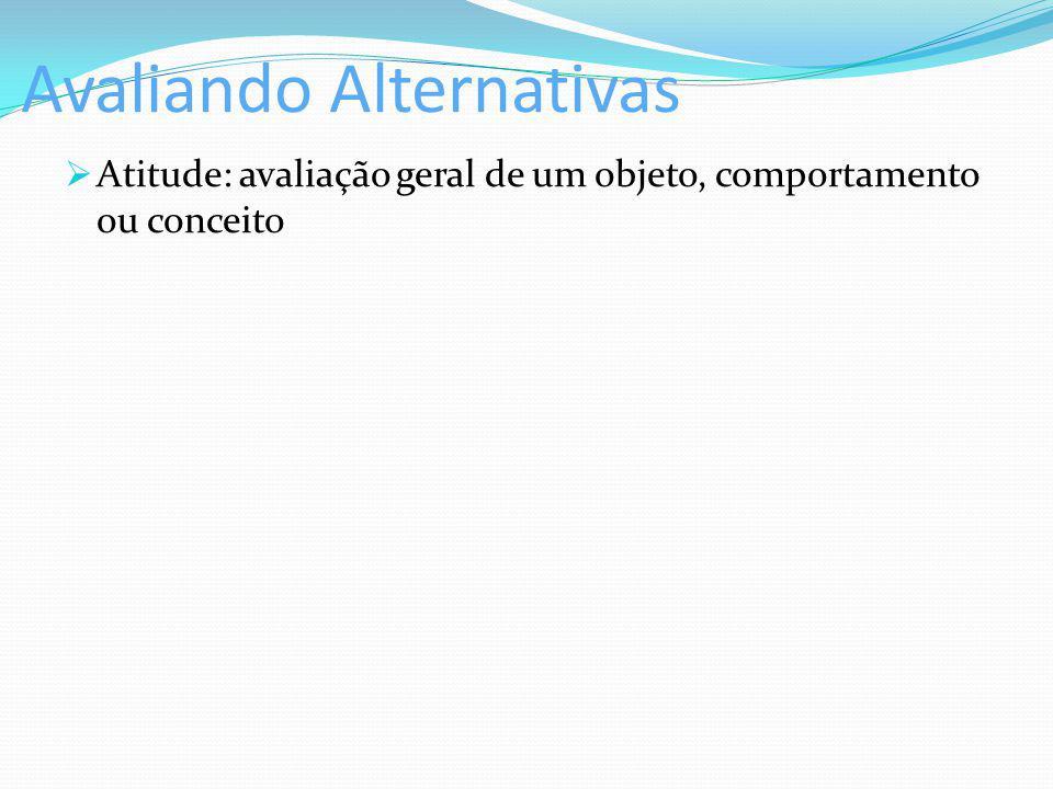 Avaliando Alternativas Atitude: avaliação geral de um objeto, comportamento ou conceito