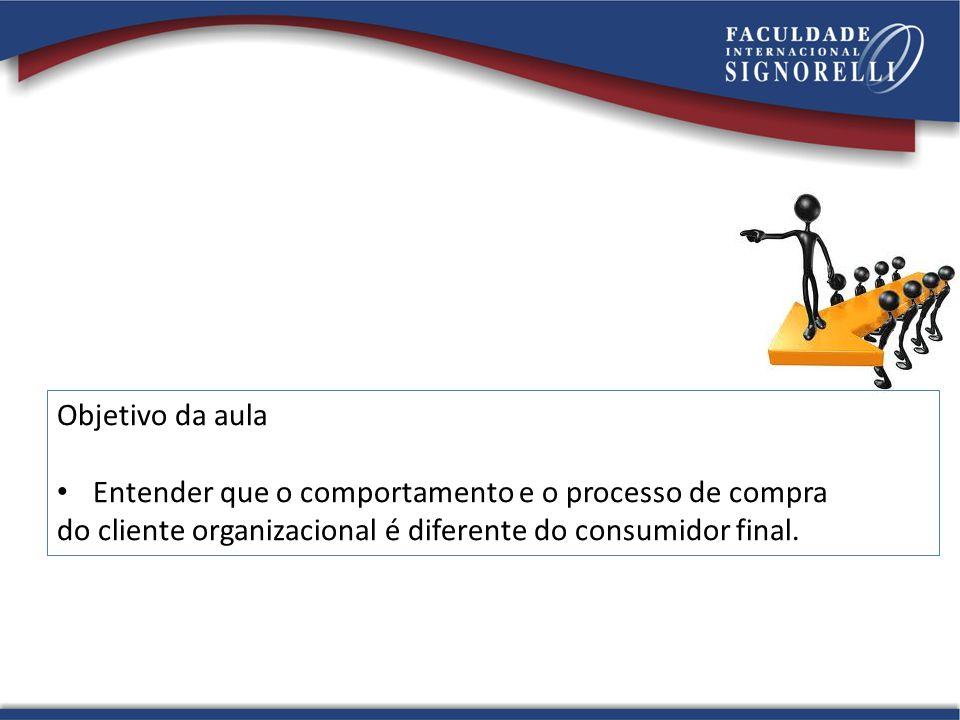 Objetivo da aula Entender que o comportamento e o processo de compra do cliente organizacional é diferente do consumidor final.