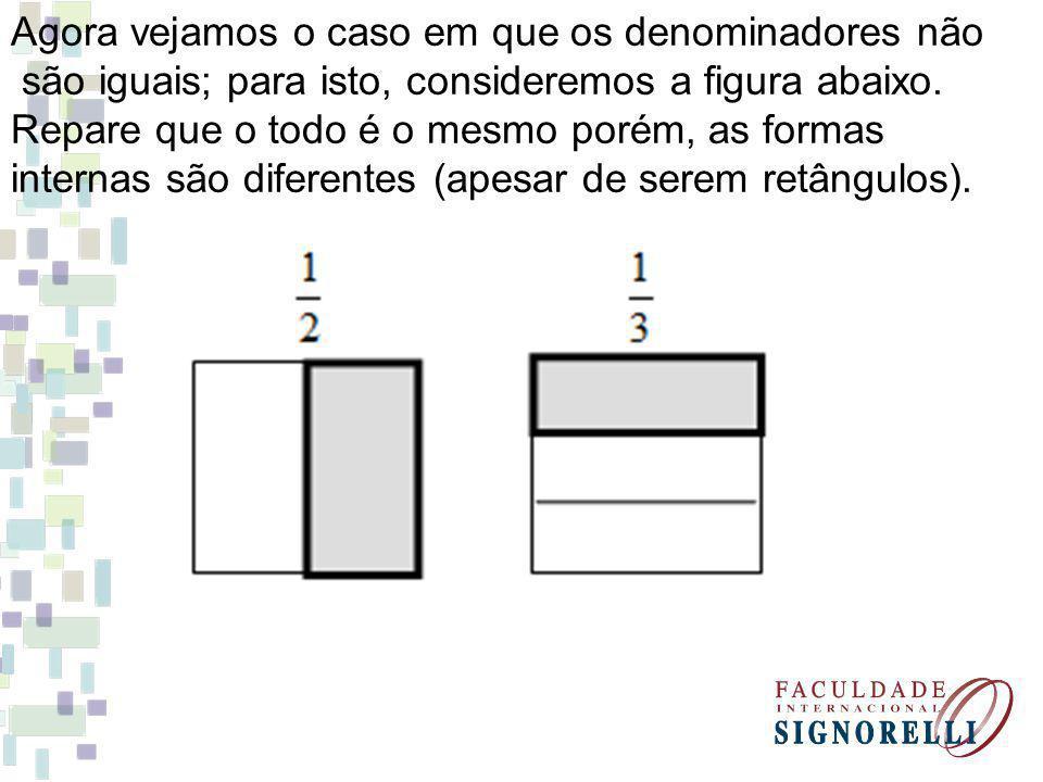 Agora vejamos o caso em que os denominadores não são iguais; para isto, consideremos a figura abaixo.