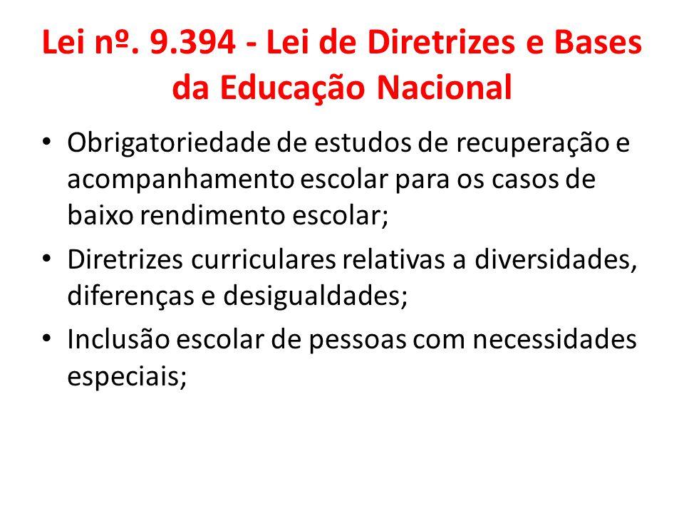 Lei nº. 9.394 - Lei de Diretrizes e Bases da Educação Nacional Obrigatoriedade de estudos de recuperação e acompanhamento escolar para os casos de bai