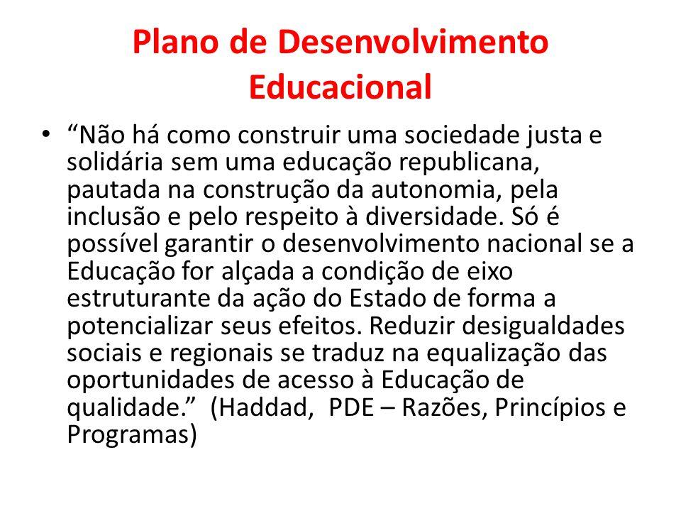 Plano de Desenvolvimento Educacional Não há como construir uma sociedade justa e solidária sem uma educação republicana, pautada na construção da autonomia, pela inclusão e pelo respeito à diversidade.