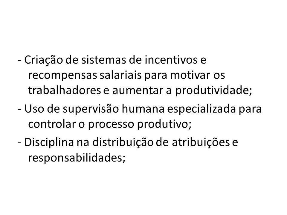 - Criação de sistemas de incentivos e recompensas salariais para motivar os trabalhadores e aumentar a produtividade; - Uso de supervisão humana espec