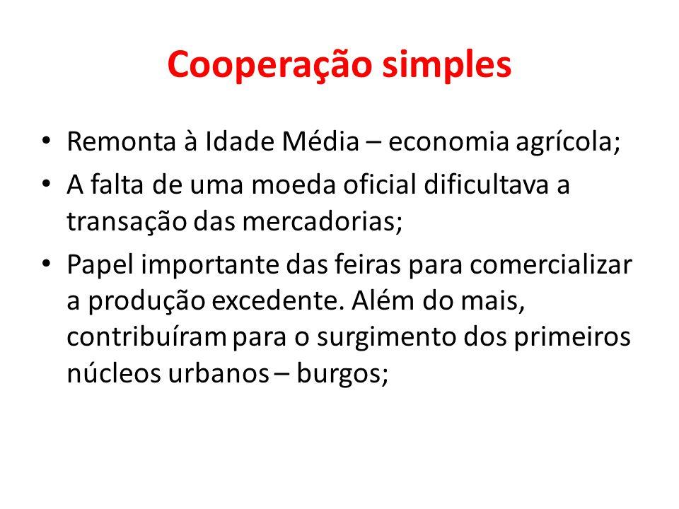 Cooperação simples Remonta à Idade Média – economia agrícola; A falta de uma moeda oficial dificultava a transação das mercadorias; Papel importante d