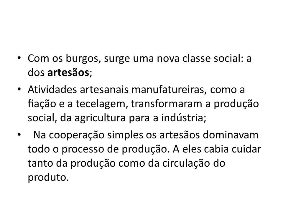 Com os burgos, surge uma nova classe social: a dos artesãos; Atividades artesanais manufatureiras, como a ação e a tecelagem, transformaram a produção