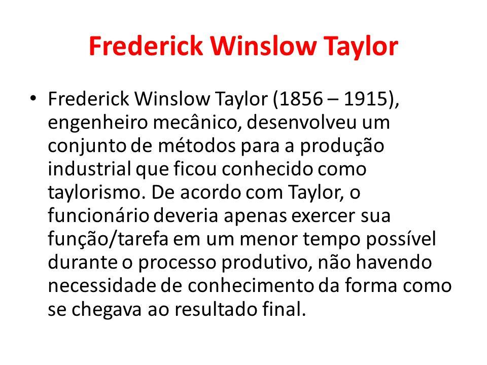 Frederick Winslow Taylor Frederick Winslow Taylor (1856 – 1915), engenheiro mecânico, desenvolveu um conjunto de métodos para a produção industrial qu