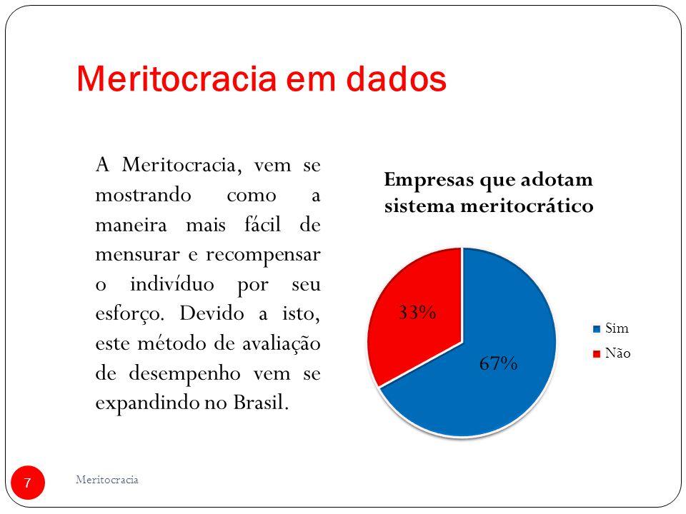 Meritocracia em dados 7 Meritocracia A Meritocracia, vem se mostrando como a maneira mais fácil de mensurar e recompensar o indivíduo por seu esforço.
