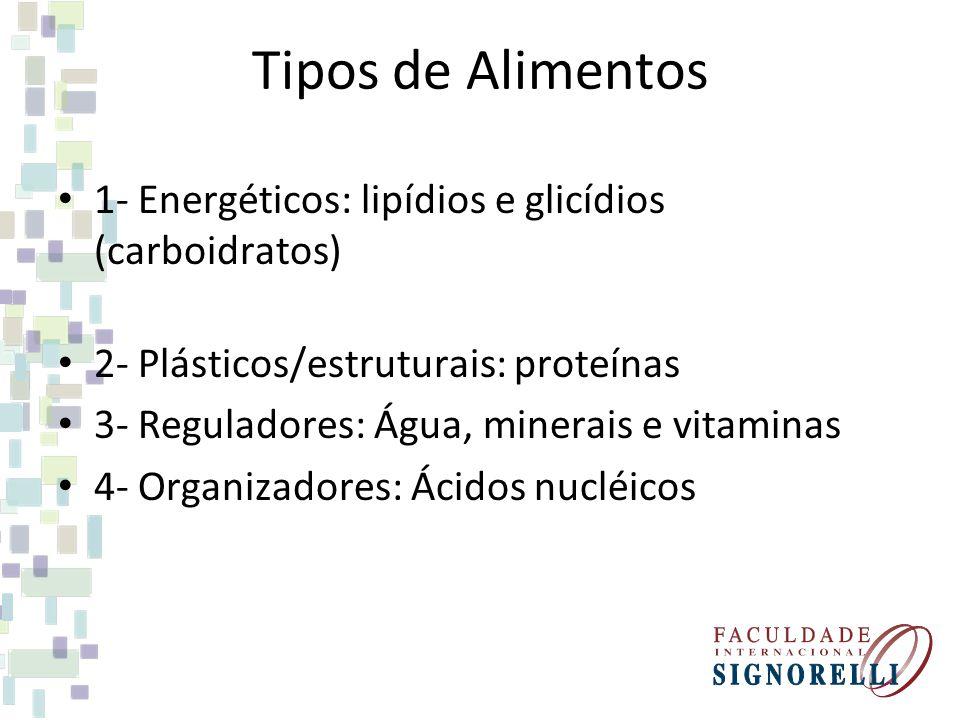 Tipos de Alimentos 1- Energéticos: lipídios e glicídios (carboidratos) 2- Plásticos/estruturais: proteínas 3- Reguladores: Água, minerais e vitaminas 4- Organizadores: Ácidos nucléicos