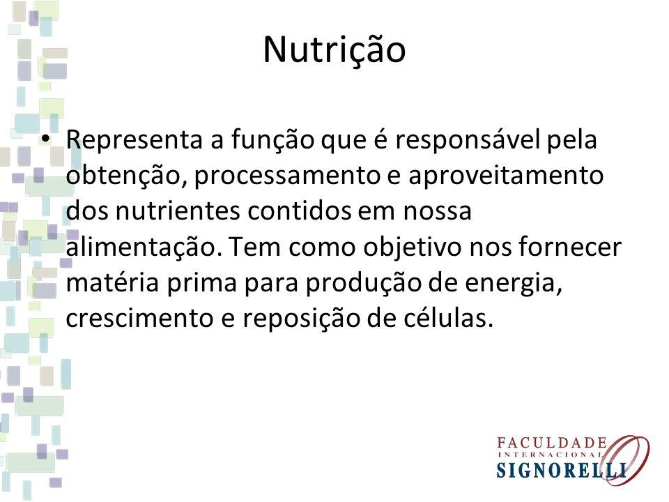 Nutrição Representa a função que é responsável pela obtenção, processamento e aproveitamento dos nutrientes contidos em nossa alimentação.