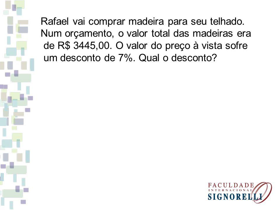 Rafael vai comprar madeira para seu telhado. Num orçamento, o valor total das madeiras era de R$ 3445,00. O valor do preço à vista sofre um desconto d