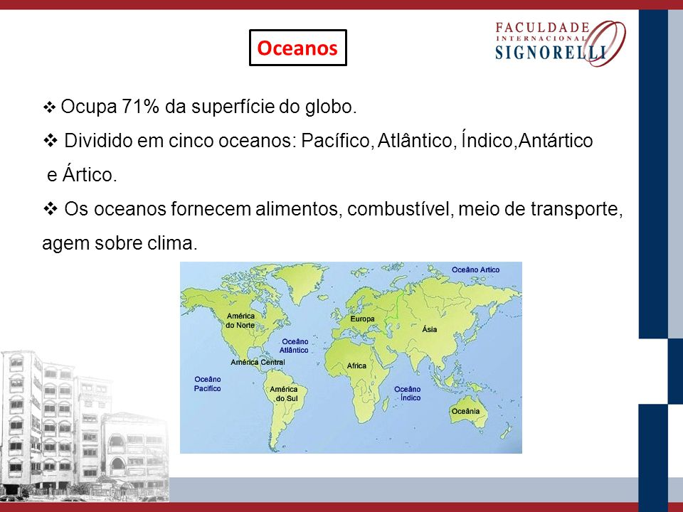 Oceanos Ocupa 71% da superfície do globo. Dividido em cinco oceanos: Pacífico, Atlântico, Índico,Antártico e Ártico. Os oceanos fornecem alimentos, co