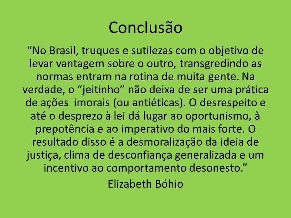 Conclusão No Brasil, truques e sutilezas com o objetivo de levar vantagem sobre o outro, transgredindo as normas entram na rotina de muita gente. Na v