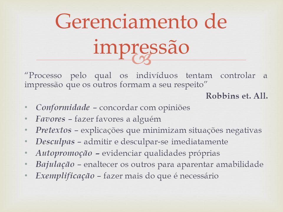 Processo pelo qual os indivíduos tentam controlar a impressão que os outros formam a seu respeito Robbins et. All. Conformidade – concordar com opiniõ