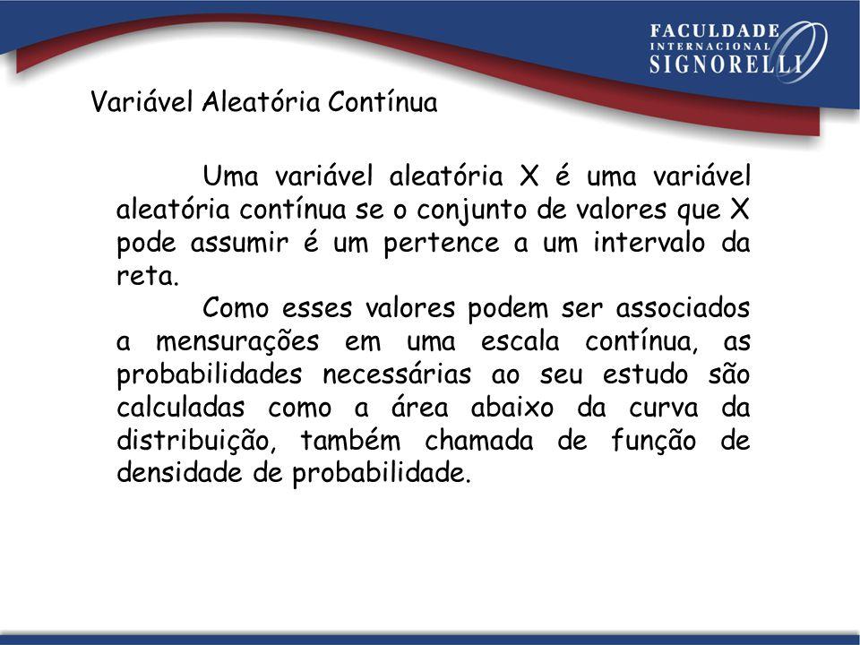Variável Aleatória Contínua Uma variável aleatória X é uma variável aleatória contínua se o conjunto de valores que X pode assumir é um pertence a um