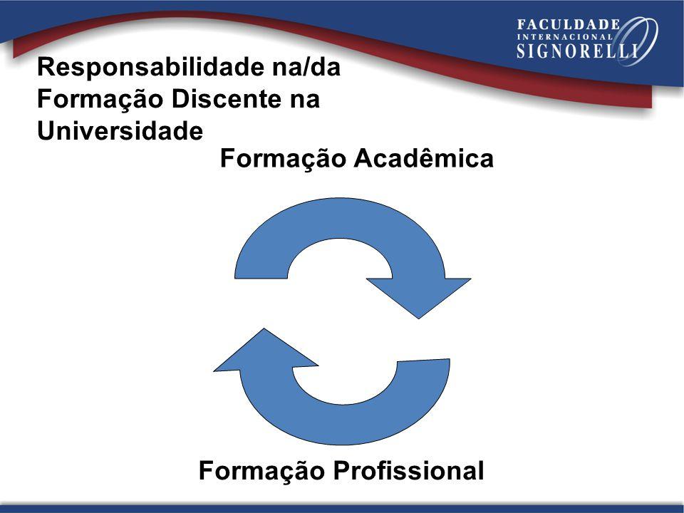 Formação Acadêmica Formação Profissional Responsabilidade na/da Formação Discente na Universidade