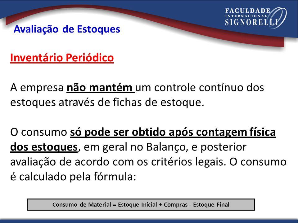 Inventário Periódico A empresa não mantém um controle contínuo dos estoques através de fichas de estoque. O consumo só pode ser obtido após contagem f