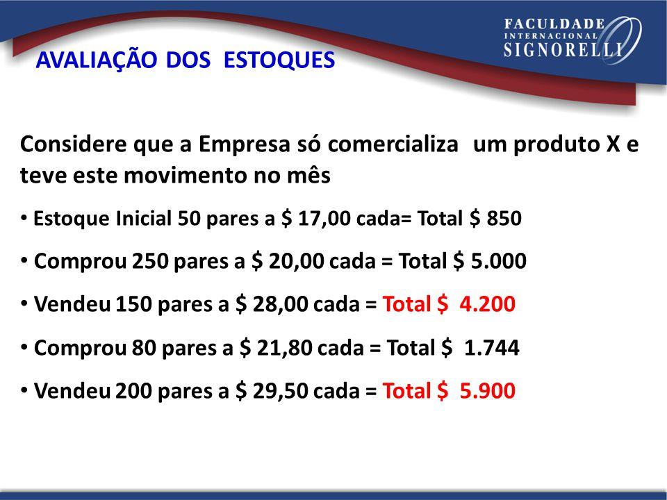 Considere que a Empresa só comercializa um produto X e teve este movimento no mês Estoque Inicial 50 pares a $ 17,00 cada= Total $ 850 Comprou 250 par