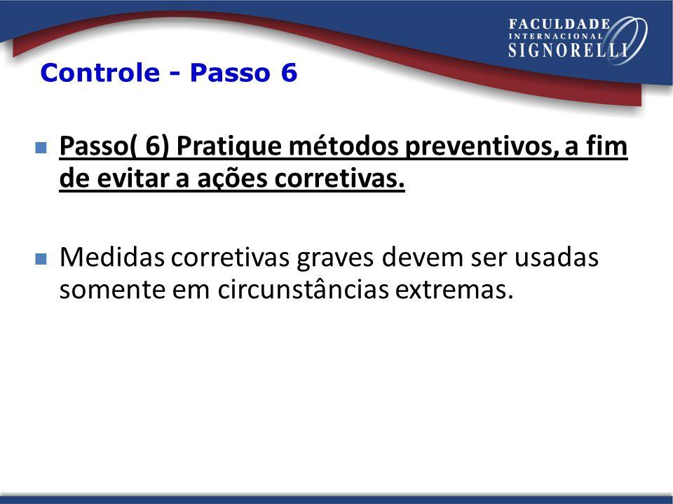 Passo( 6) Pratique métodos preventivos, a fim de evitar a ações corretivas. Medidas corretivas graves devem ser usadas somente em circunstâncias extre