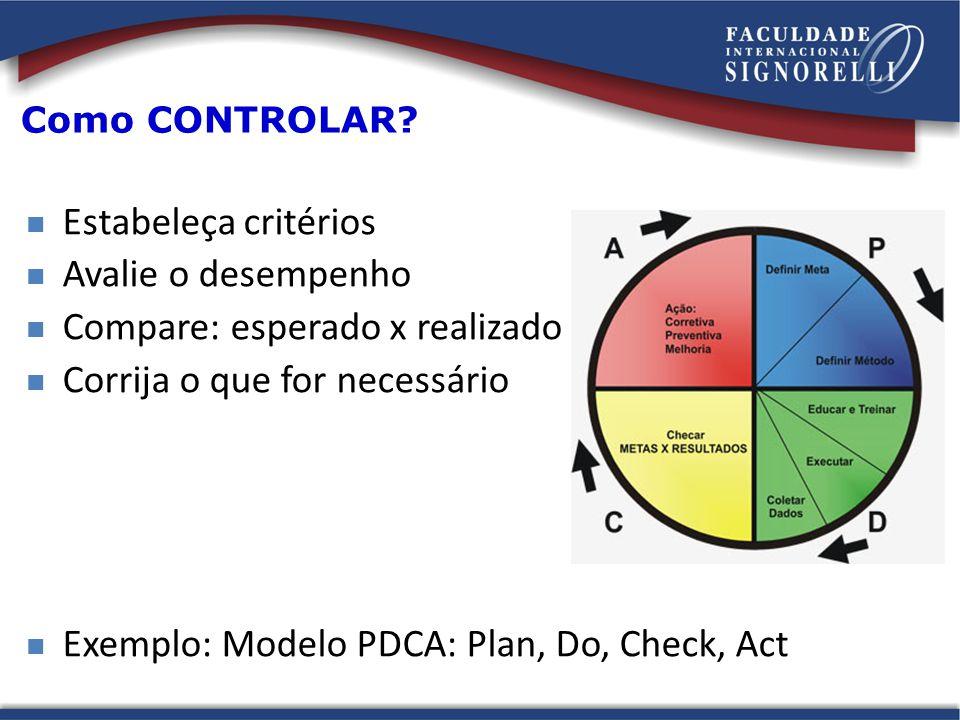 Como CONTROLAR? Estabeleça critérios Avalie o desempenho Compare: esperado x realizado Corrija o que for necessário Exemplo: Modelo PDCA: Plan, Do, Ch