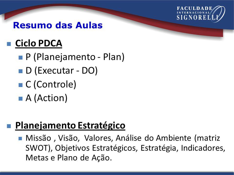 Resumo das Aulas Ciclo PDCA P (Planejamento - Plan) D (Executar - DO) C (Controle) A (Action) Planejamento Estratégico Missão, Visão, Valores, Análise do Ambiente (matriz SWOT), Objetivos Estratégicos, Estratégia, Indicadores, Metas e Plano de Ação.