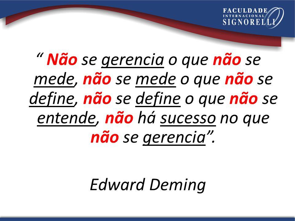 Não se gerencia o que não se mede, não se mede o que não se define, não se define o que não se entende, não há sucesso no que não se gerencia. Edward
