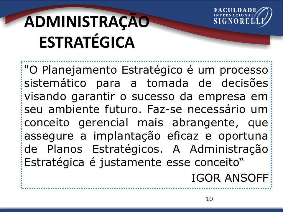 10 ADMINISTRAÇÃO ESTRATÉGICA O Planejamento Estratégico é um processo sistemático para a tomada de decisões visando garantir o sucesso da empresa em seu ambiente futuro.