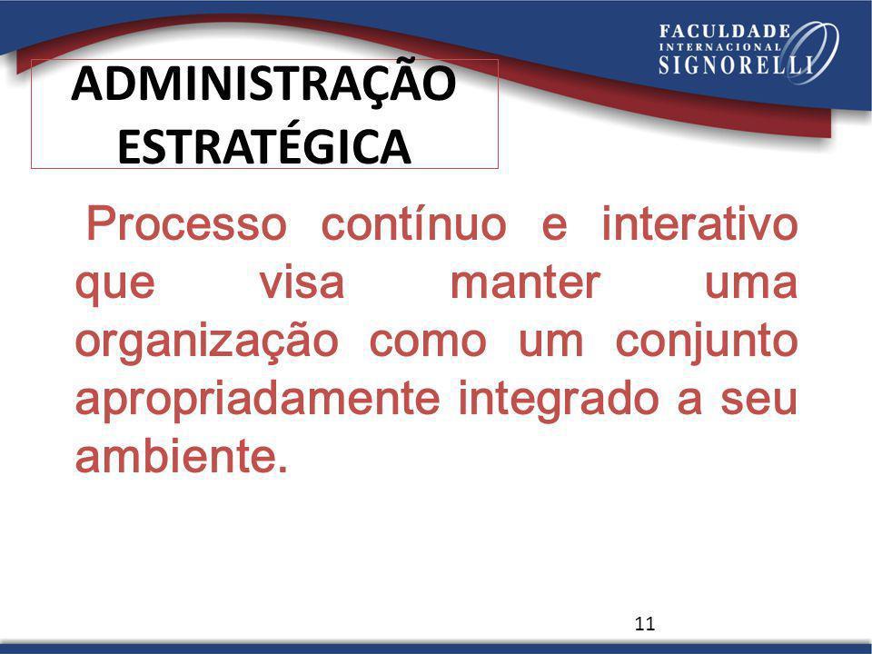 11 ADMINISTRAÇÃO ESTRATÉGICA Processo contínuo e interativo que visa manter uma organização como um conjunto apropriadamente integrado a seu ambiente.