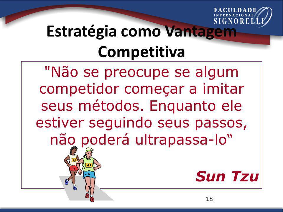 18 Estratégia como Vantagem Competitiva Não se preocupe se algum competidor começar a imitar seus métodos.
