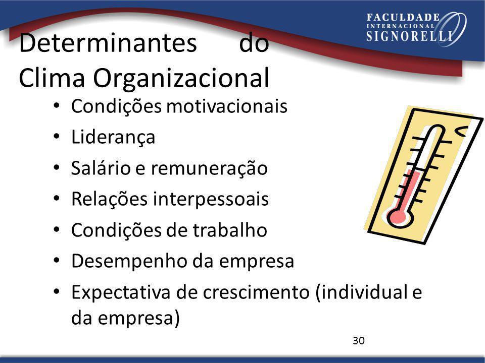 30 Determinantes do Clima Organizacional Condições motivacionais Liderança Salário e remuneração Relações interpessoais Condições de trabalho Desempenho da empresa Expectativa de crescimento (individual e da empresa)