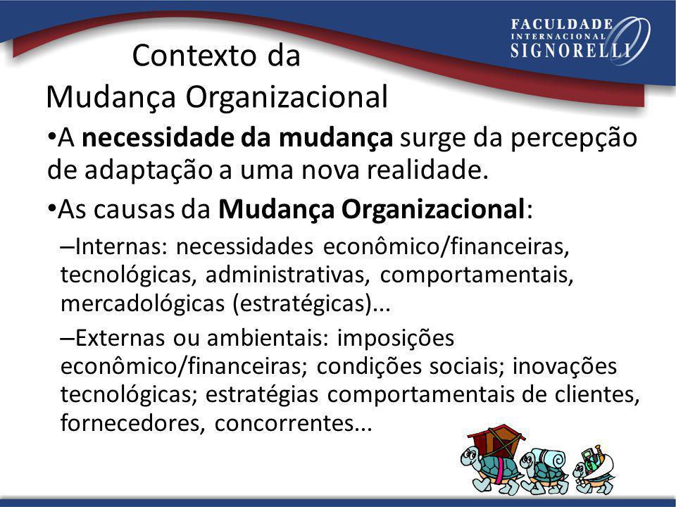 36 Contexto da Mudança Organizacional A necessidade da mudança surge da percepção de adaptação a uma nova realidade.