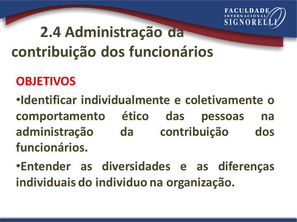2.4 Administração da contribuição dos funcionários OBJETIVOS Identificar individualmente e coletivamente o comportamento ético das pessoas na administração da contribuição dos funcionários.