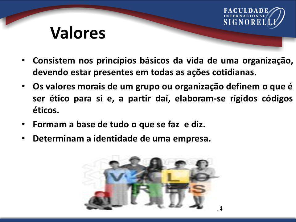 44 Valores Consistem nos princípios básicos da vida de uma organização, devendo estar presentes em todas as ações cotidianas.